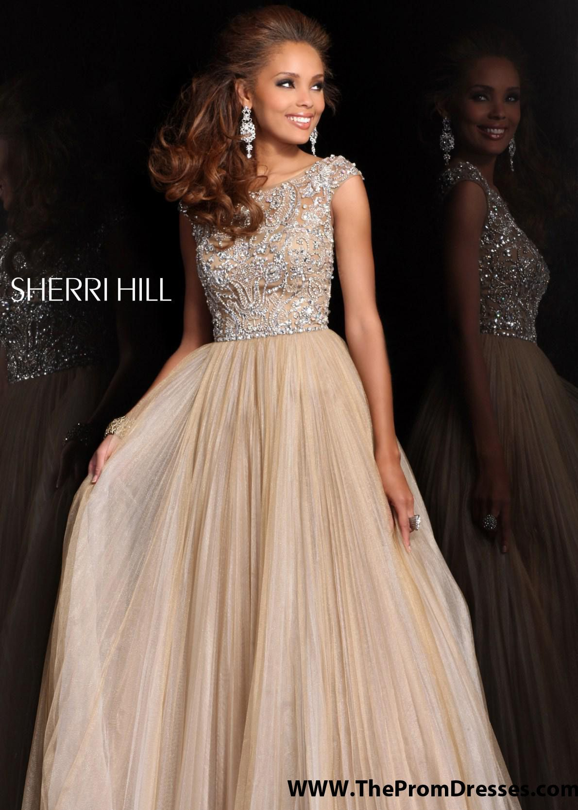 Sherri Hill 2984 - Nude/Silver Beaded Ball Gown Dresses Online ...