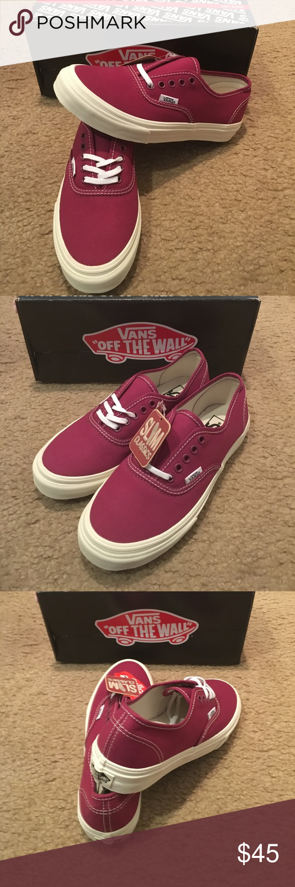 ffedd8a6aa9c Authentic Slim Twill Vans New in box. Red plum Vans Shoes Sneakers ...