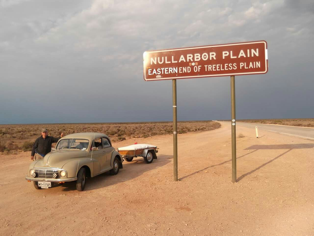 Les Simpson in his mighty Morris 1000 crossing the Nullarbor.