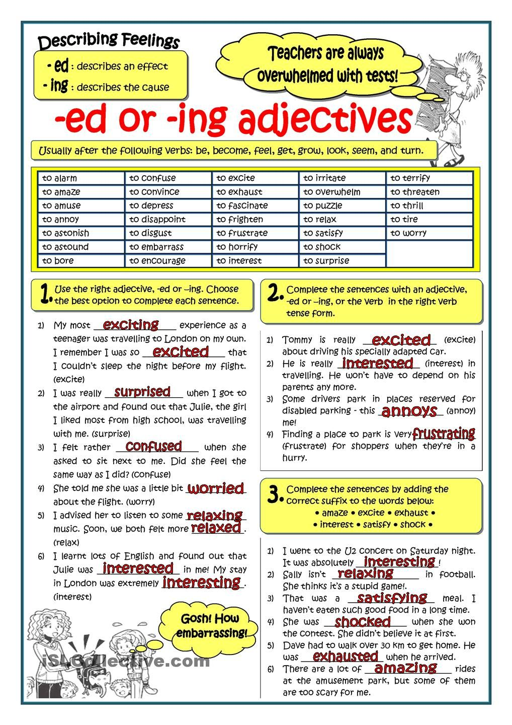 ADJECTIVES ENDING IN -ED OR -ING | Grammar | Pinterest