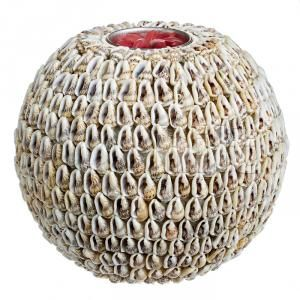 Подсвечник шар Серая ракушка, 14 см