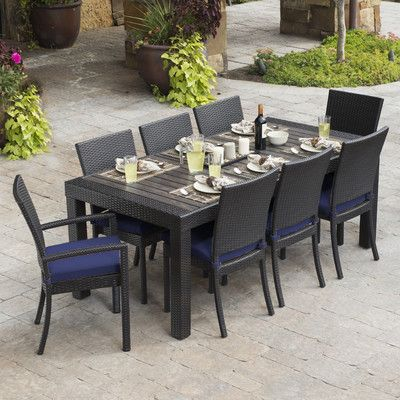6907a5e2f5116 Three Posts Evansville 9 Piece Outdoor Dining Set with Cushion Cushion  Finish