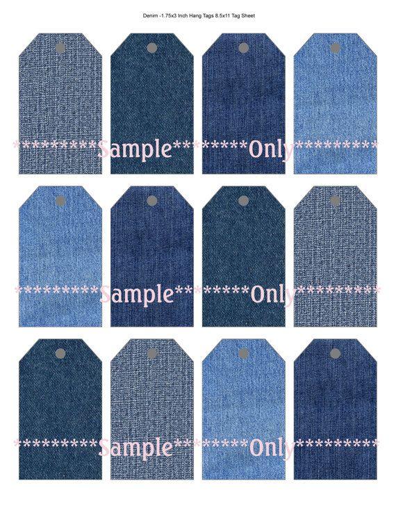 DIY Denim Gift Tags Collage Sheets BookMarks Hang Tags Mason Jars More Crafts 2 Styles 2 Digital Image Sheets via Etsy