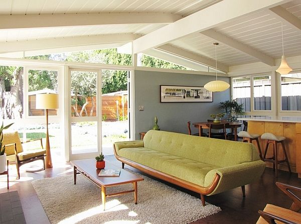cool interior borrows heavily from a midcentury style
