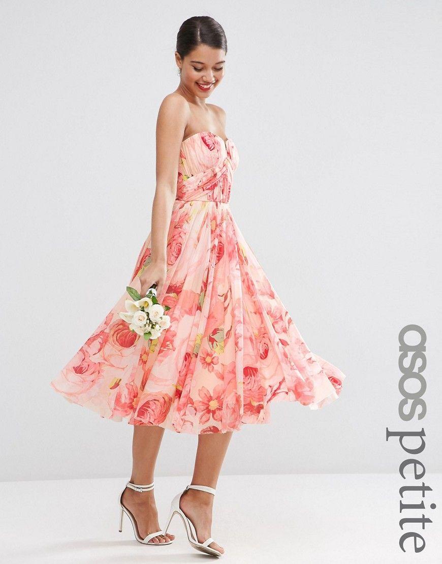 f577d6d70dc Image 1 of ASOS PETITE WEDDING Bandeau Midi in Floral Print