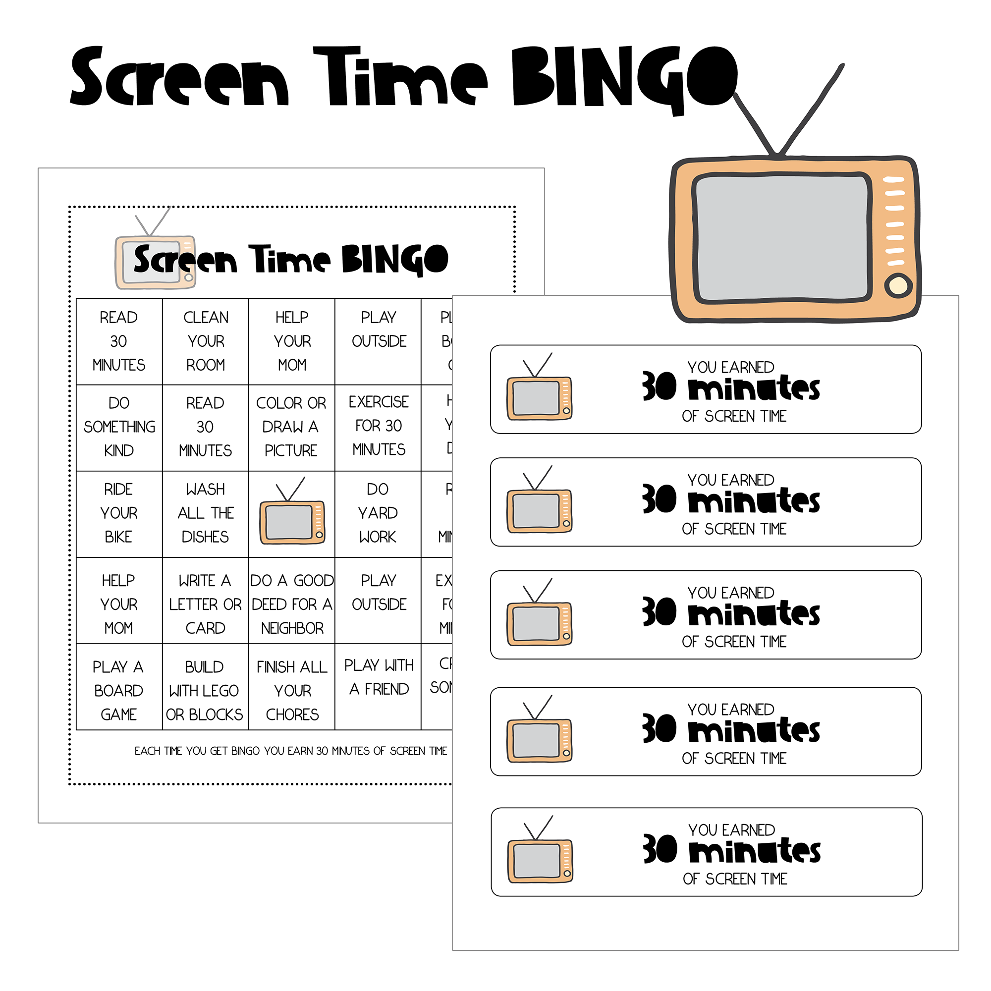 Free Printable Screen Time Bingo Game For Teaching Responsibility