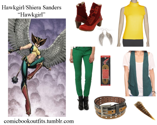 Hawkgirl! BootsLacesTurtleneckBeltVestJeansEarringsHair extensions /back after an unexcused absence My ask box is now open for suggestions!