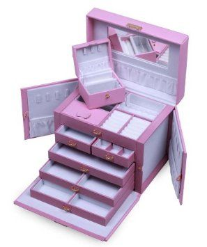 SHINING IMAGE HUGE PINK LEATHER JEWELRY BOX / CASE / STORAGE / ORGANIZER WITH TRAVEL CASE AND LOCK: Christmas Gifts