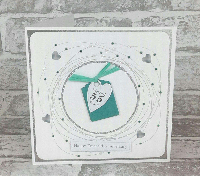 55th Wedding Anniversary Card Emerald Anniversary (With