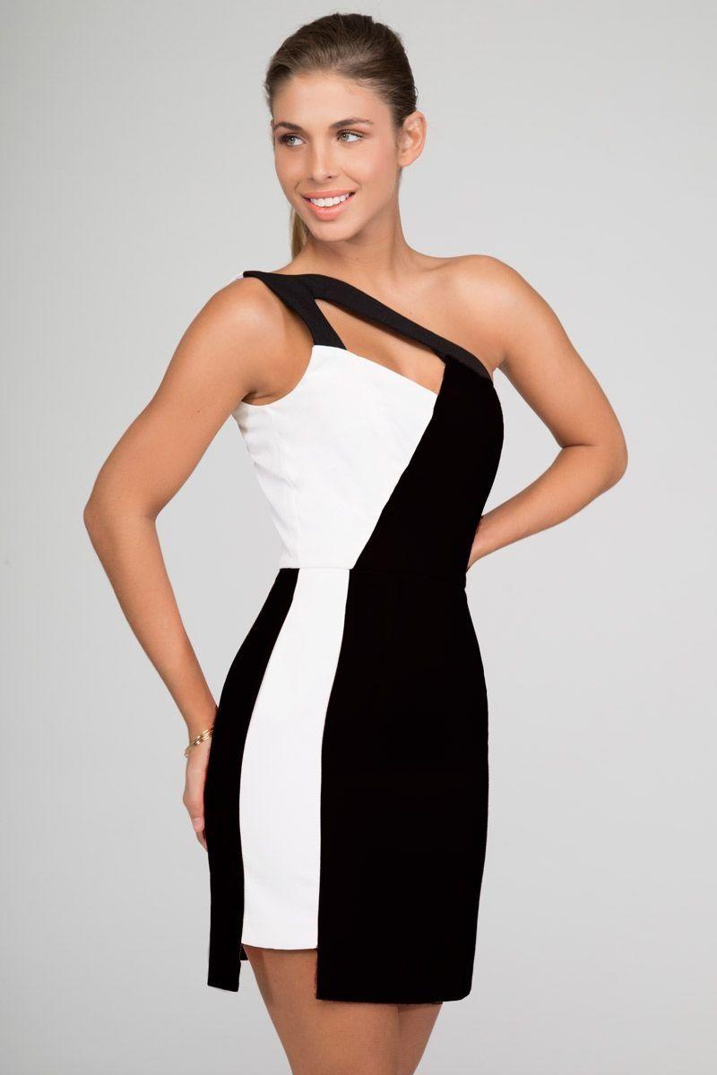 vestido-blanco-y-negro-corto-asimetrico-para-boda-fiesta-evento ...