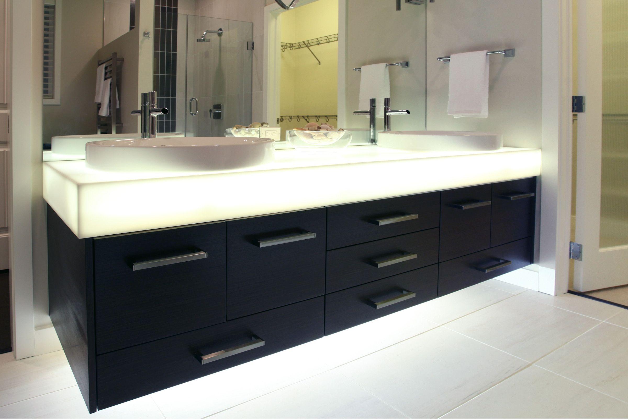 Dupont corian illumination series countertop corian - Solid surface bathroom countertops ...