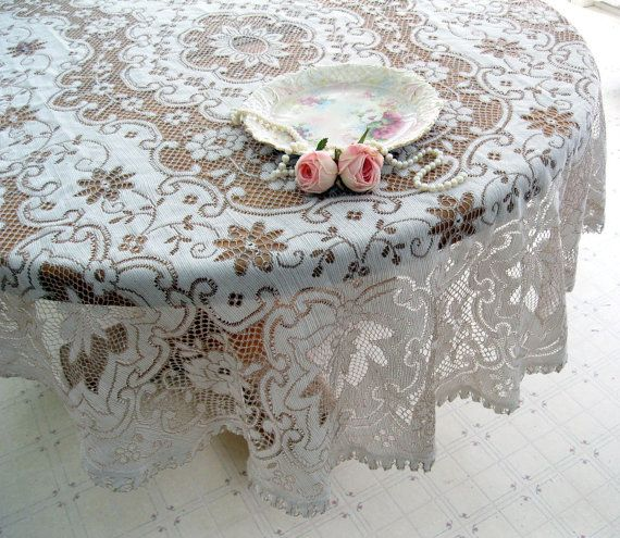 Amazing Shabby Chic Netted Lace Tablecloth Oval Lace By Mailordervintage