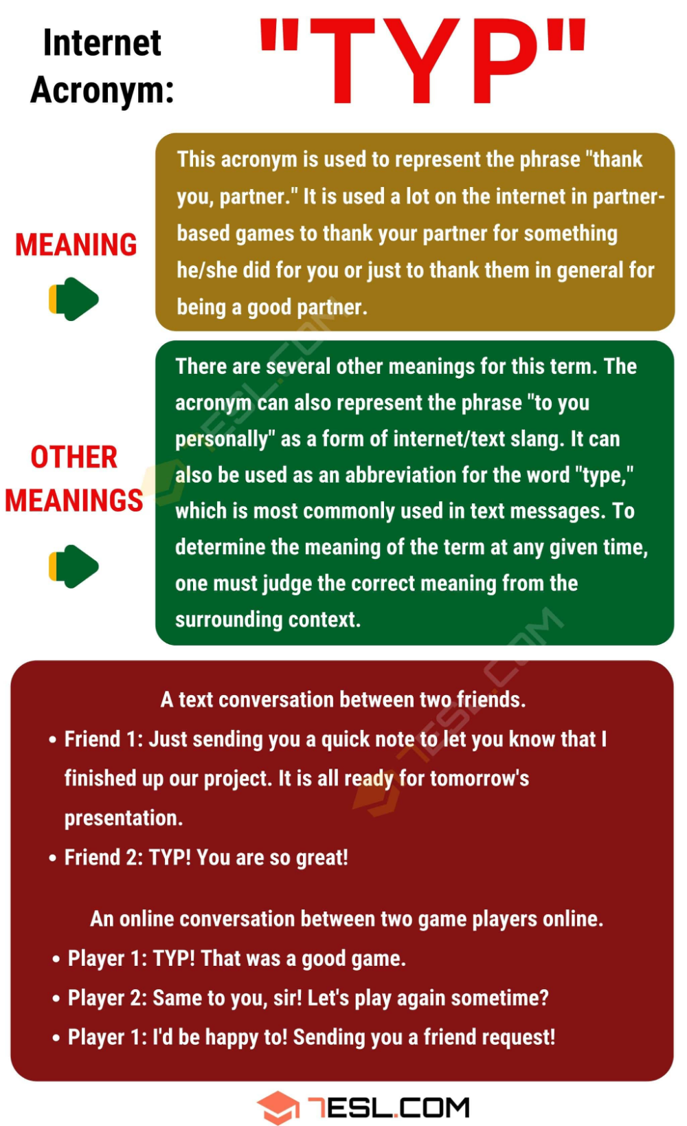 TYP Meaning: What Does TYP Mean and Stand For in Texting? - 7 E S L | Meant  to be, Other ways to say, English lessons