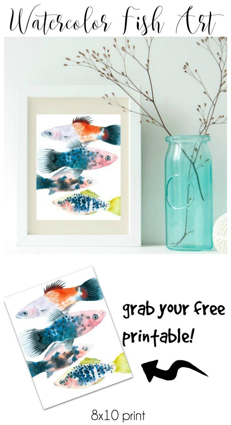 Free Watercolor Fish Printable | floral ideas | Watercolor fish, Diy