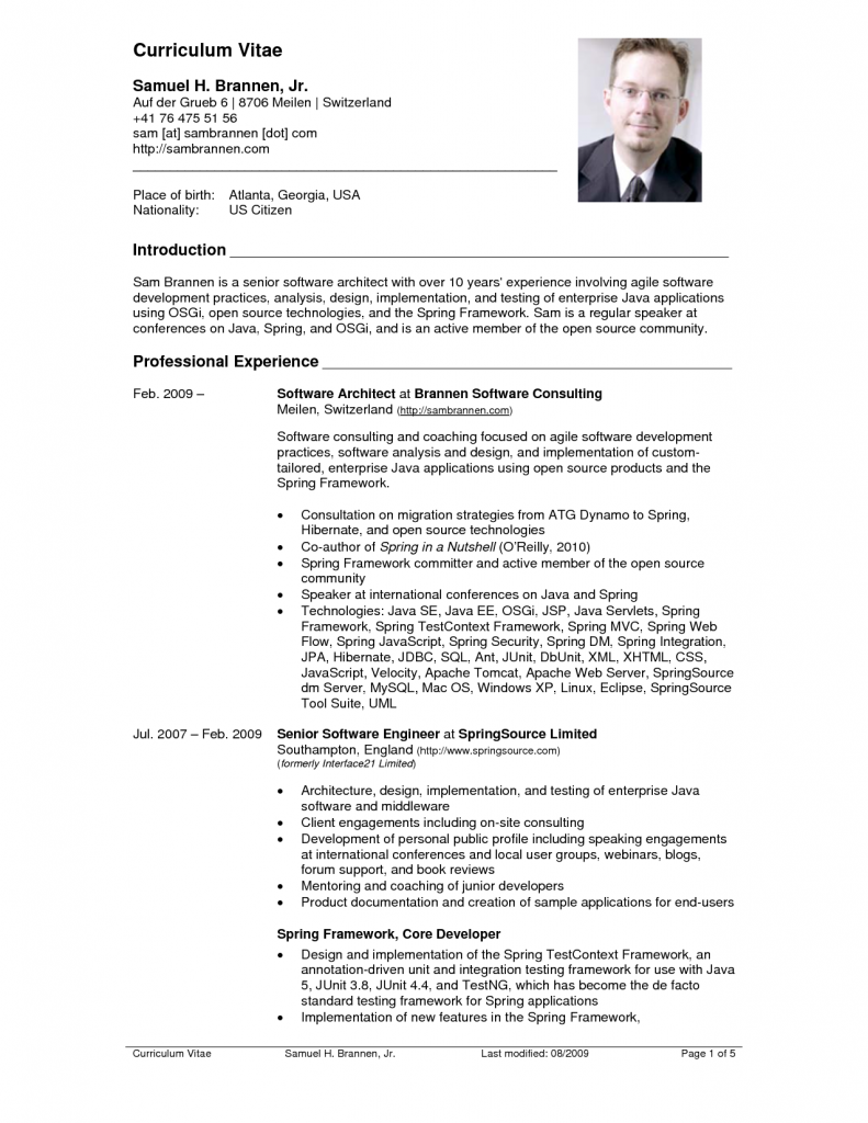 Great Top 10 CV Resume Example