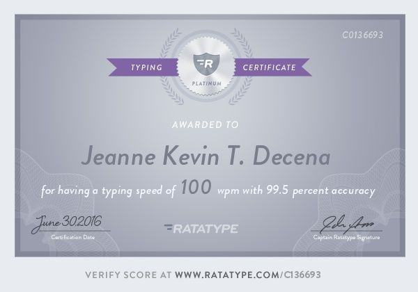 certificate typing lessons platinum test touch speed learn practice keyboarding