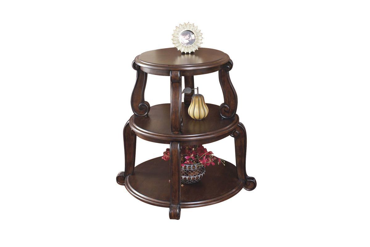 Brookfield Tiered Round End Table By Ashley End Tables Wood