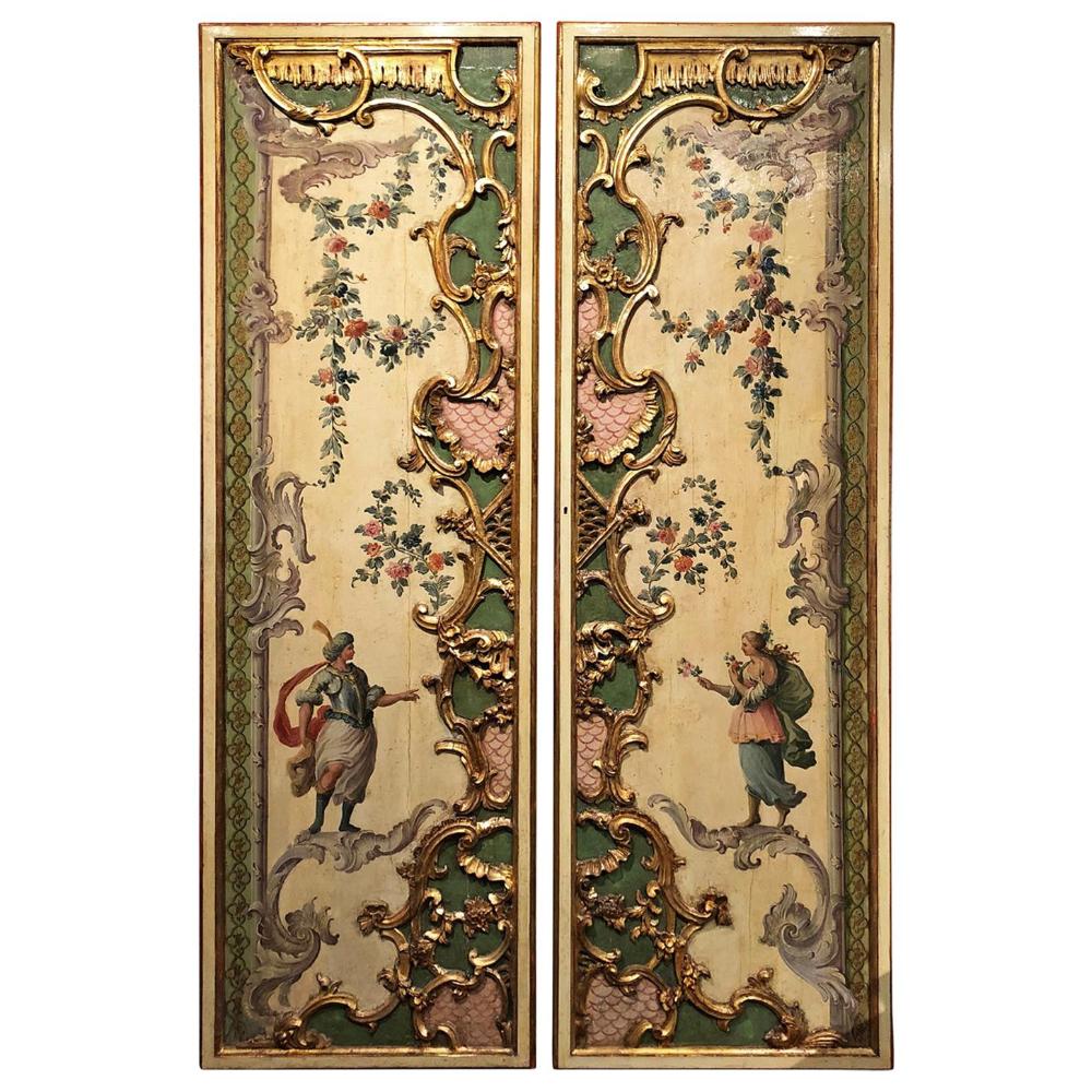 Photo of Venezia sent på 1700-tallet par lakkert dørpaneler i barokk stil