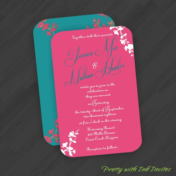 Red And Pink Wedding Invitations: Wedding Special Event Invitations