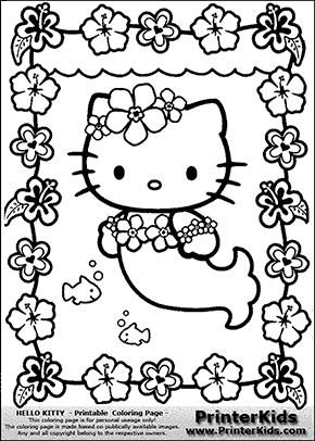 Hello Kitty Mermaid And Flowers Coloring Page Preview Hello Kitty Coloring Kitty Coloring Hello Kitty Colouring Pages