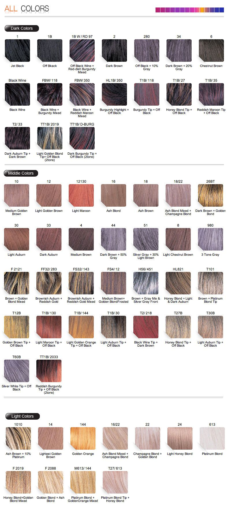 Color chart for wigs - Midway Bobbi Boss Color Chart