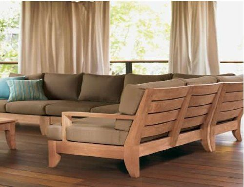 Grade A Teak Wood Luxurious Sofa Set Sectional Collection Sb 5 Pc 2 Sofas Left Right Patio Furnishings Wooden Sofa Designs Outdoor Sectional Furniture