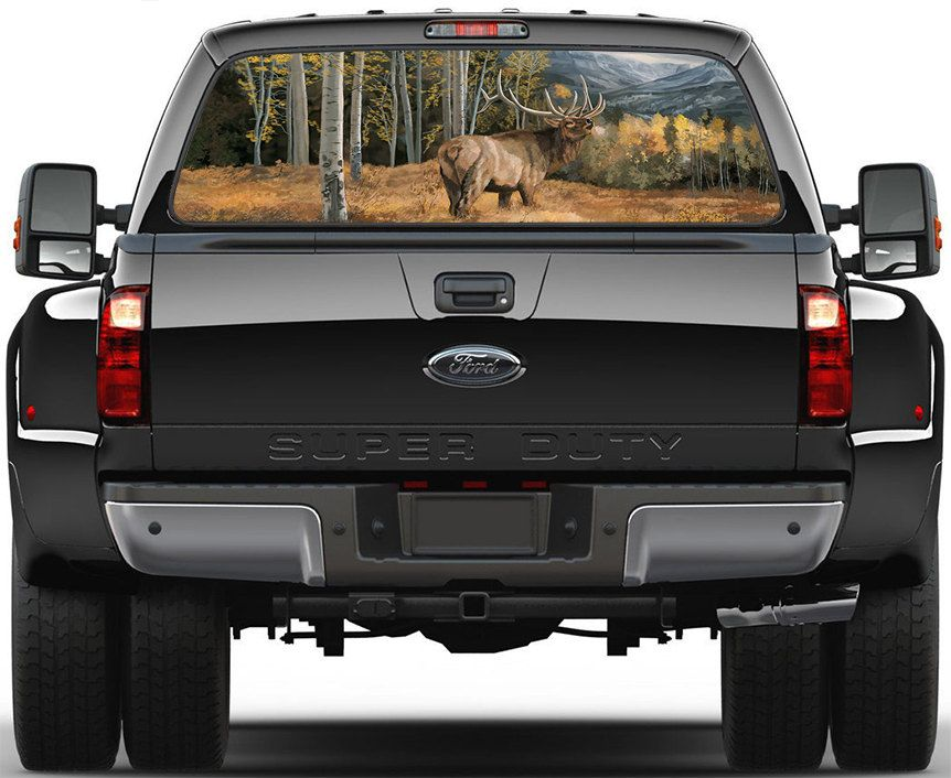 Stag Wildlife Scene Window Graphic Decal Sticker Truck SUV Van - Rear window hunting decals for trucksdeers in a forrest bw window graphic tint decal sticker truck