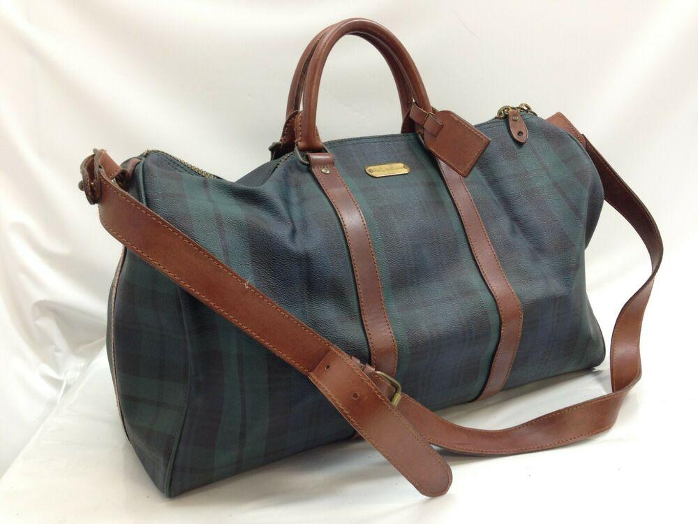 423e71fd04 ... Women s Bags   Handbags by Joann Alley. Authentic Polo Ralph Lauren  Green Check Travel Boston Bag 9B131160M  fashion  clothing  shoes
