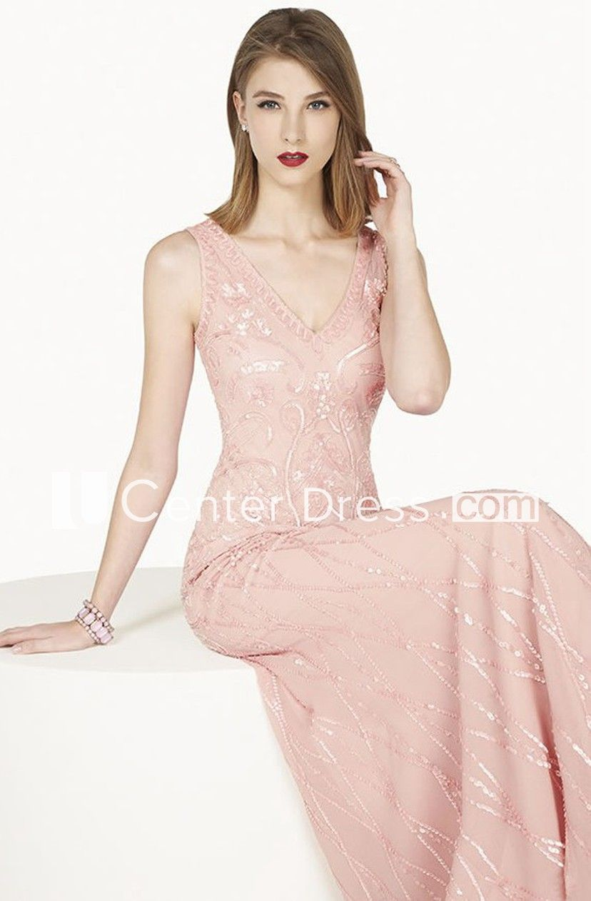 V Neck Sheath Chiffon Long Prom Dress With Sequins And Illusion Back Shown In Blush #chiffonshorts