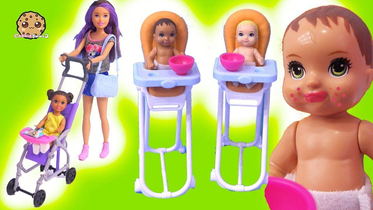 Color Change Babies ! Baby Sitting Barbie Doll Stroller