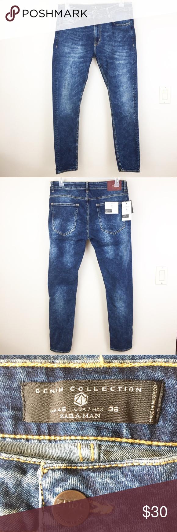 250d61f9 Zara Man Skinny Fit Denim Jeans Size 36 NWT Zara Man Basics distressed Skinny  Fit jeans