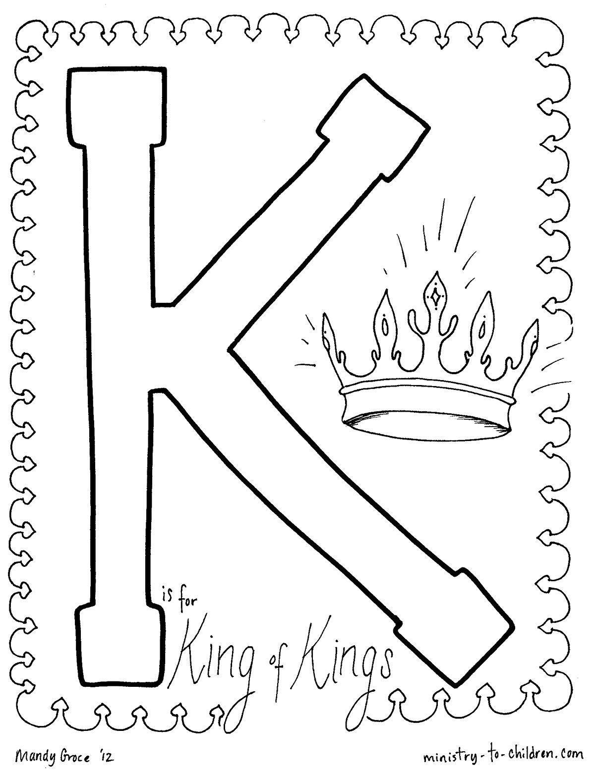 Free Christian Coloring Pages For Kids Children And Adults The Alphabet Warren Camp Desi Letter K Crafts Sunday School Coloring Sheets Christian Coloring