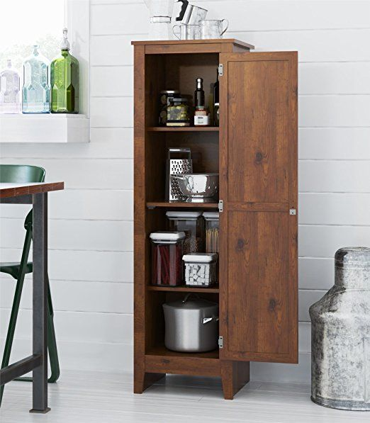 Amazon Com System Build Milford Single Door Storage Pantry Cabinet Old Fashioned Pine K Kitchen Pantry Storage Cabinet Pantry Storage Cabinet Pantry Cabinet