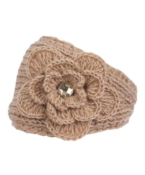 Take a look at the Camel Rhinestone Embroidered Knit Head Wrap on #zulily today!