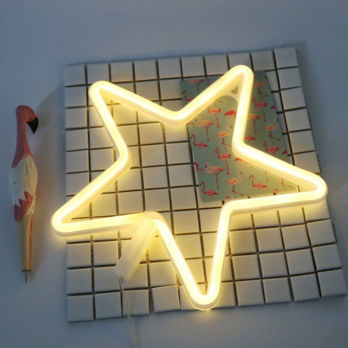Neon Light,LED Star Sign Shaped Decor Light,Wall Decor for ...