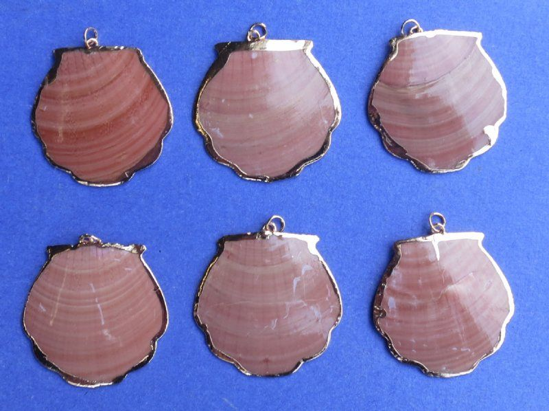 Wholesale Rose gold electroplated trimmed red scallop shell pendants