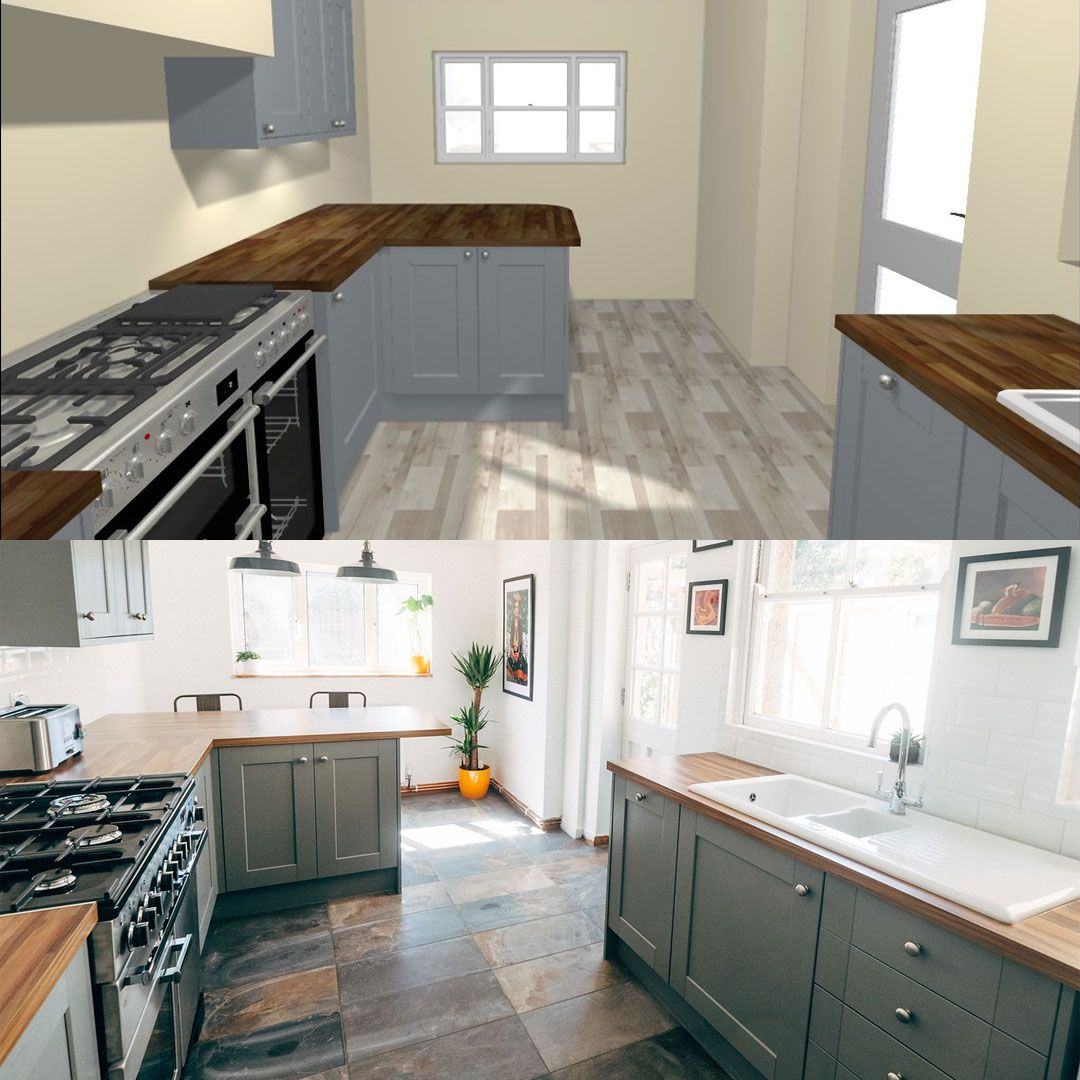 Our Fairford slate grey shaker style kitchen from design to reality ...