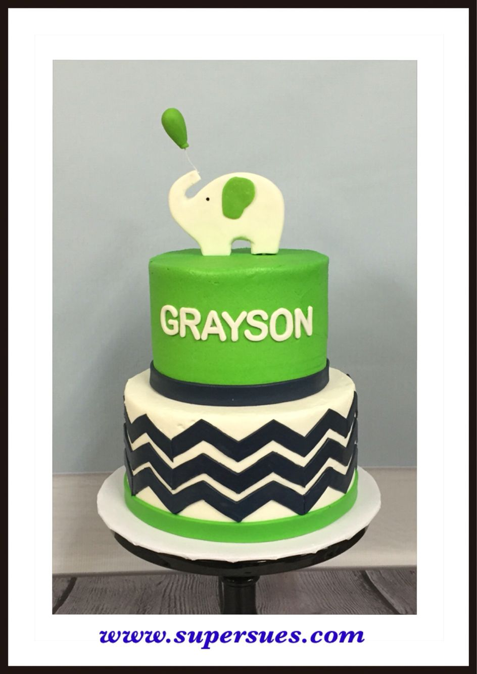 Tiered cake for first bother day Lime green accents with Navy Blue