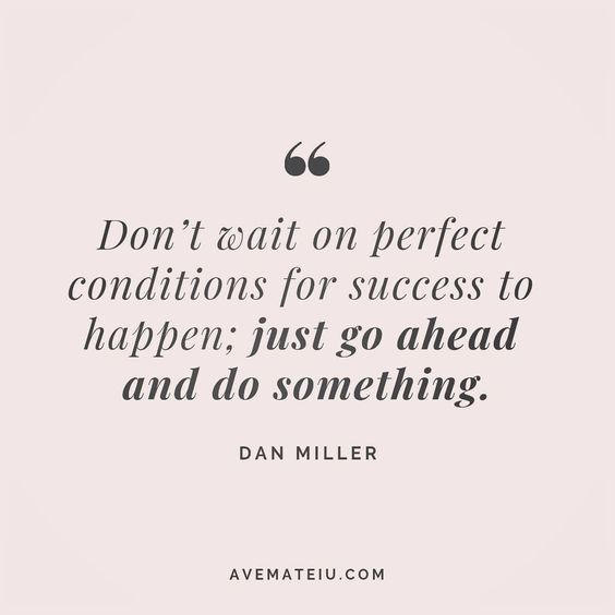 Don't wait on perfect conditions for success to happen; just go ahead and do something. Dan Miller Quote 142 | Ave Mateiu