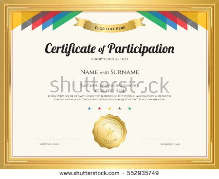 Certificate of participation template with gold border and certificate of participation template with gold border and colorful stripe yadclub Image collections