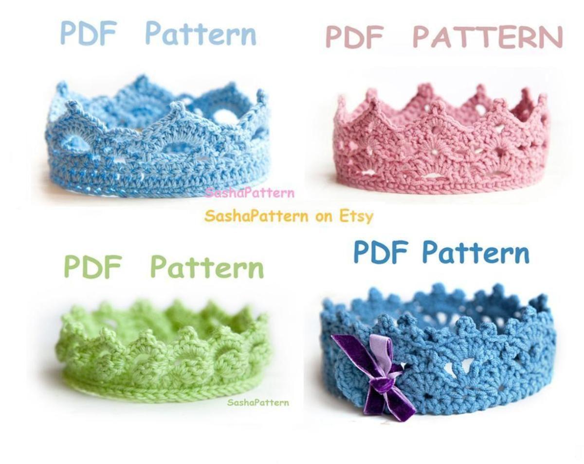 4 crochet baby crowns pattern - 4 in 1   Patrones, Tejido y Bebe