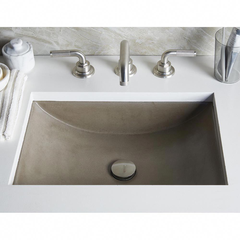 Cabrillo Rectangular Undermount Nativestone Bathroom Sink In New Earth Finish Bathroom Undermount Bathroom Sink Concrete Bathroom Rectangular Sink Bathroom