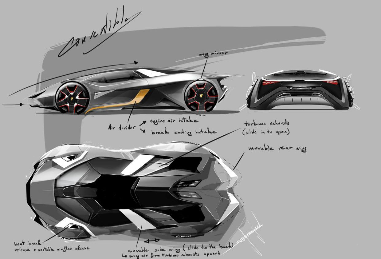 Lamborghini Diamante Concept - Design Sketches | Automotive drawings ...