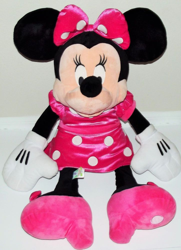 Disney Store Large 34 Minnie Mouse Plush Toy Stuffed Doll Pink