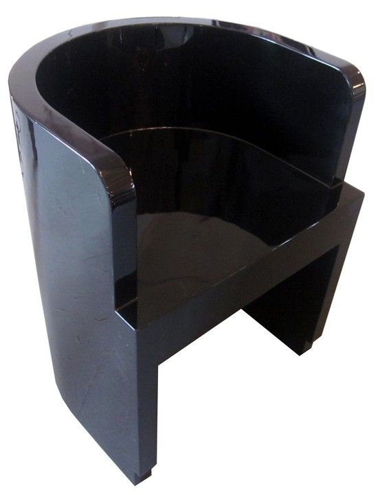 Incroyable Italian Art Deco Black Lacquer Chair By Guiseppe Pagano