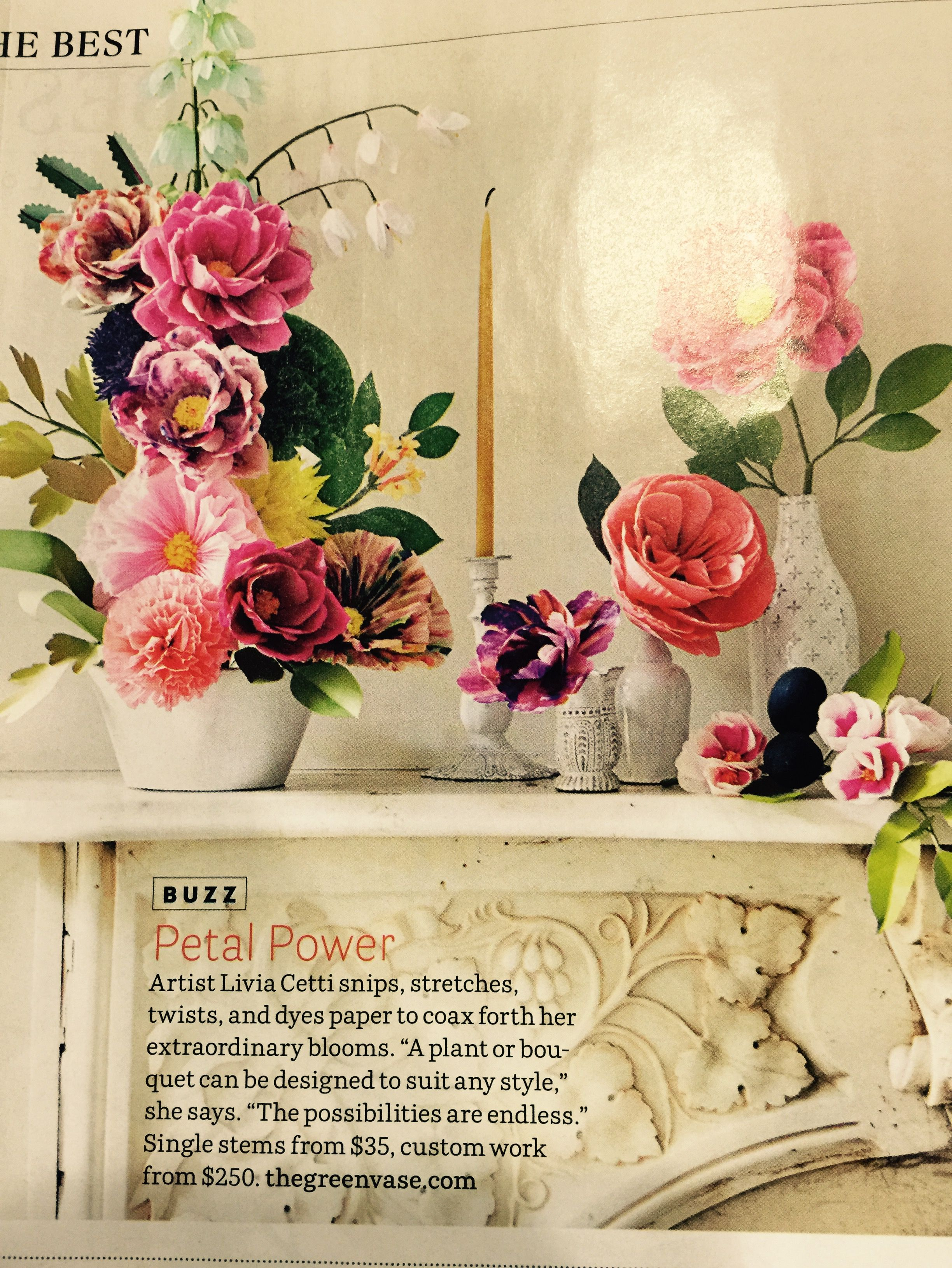 From House Beautiful 3/15.  Her website has book for sale on making these beautiful flowers.