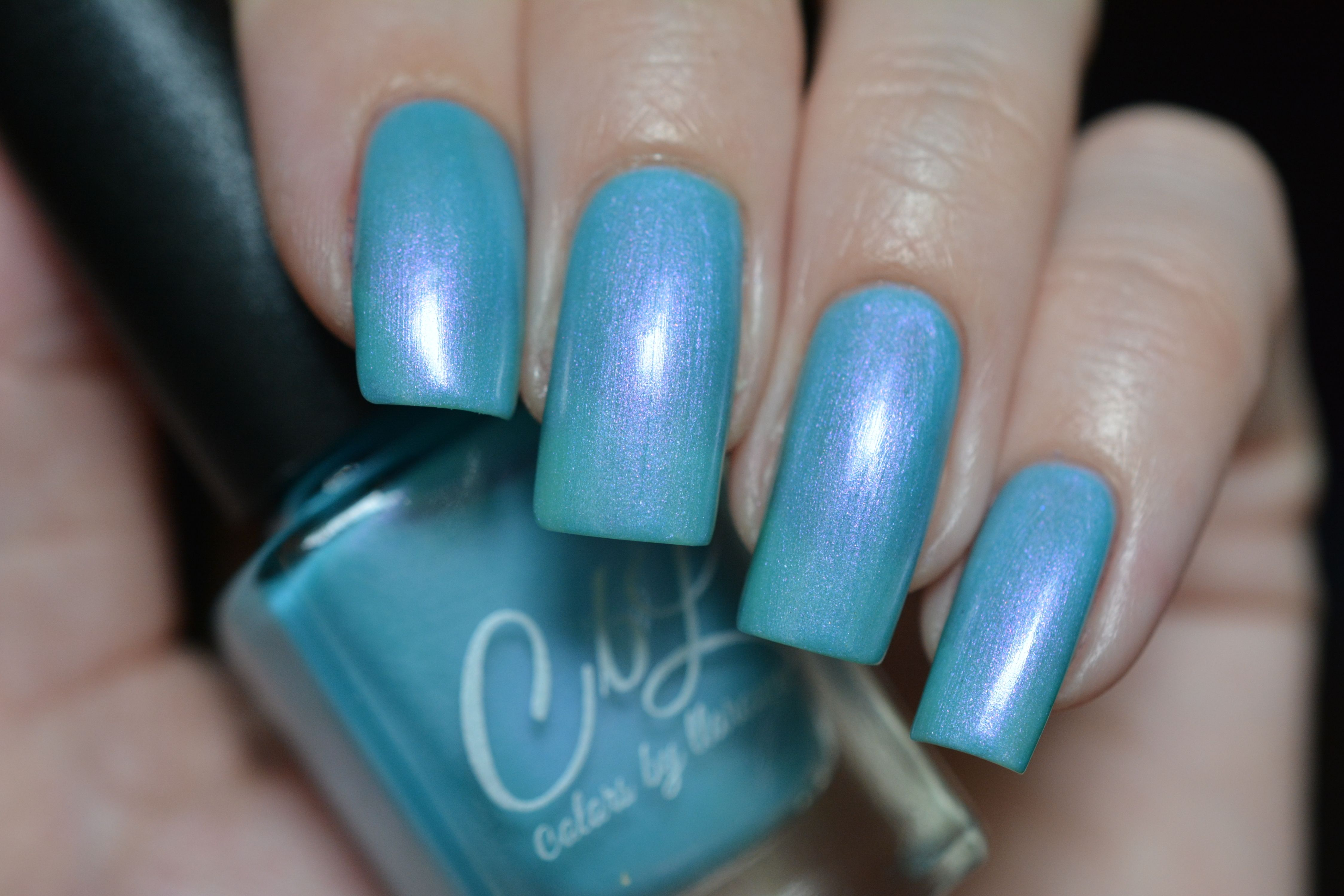 Katarina - The color of this polish is so hard to describe.  It is a creamy light sky blue aqua creme with intense violet shimmer.  This polish glows and is so delicate!  The holographic version of this is Arturo. Swatch by @luba_myfish_nails on Instagram.