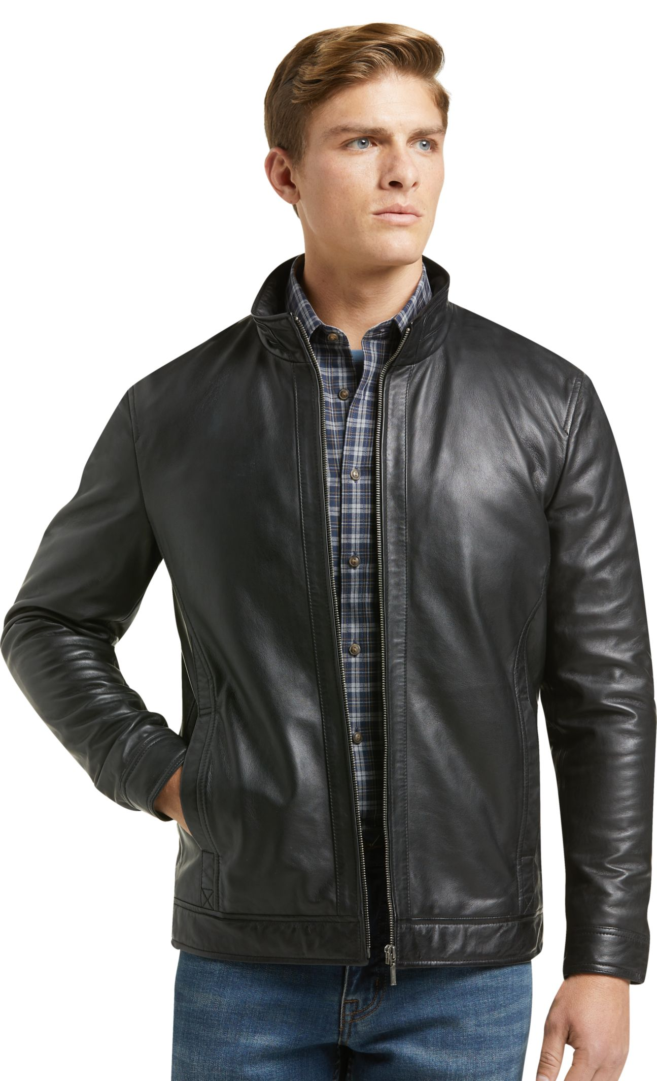 1905 Collection Tailored Fit Leather Bomber Jacket Big