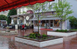 Washington St. Mall on a rainy day