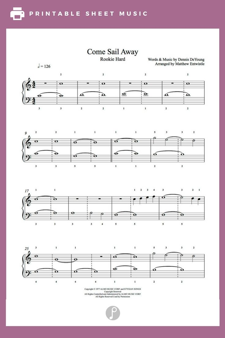 Come Sail Away By Styx Piano Sheet Music Rookie Level Playground
